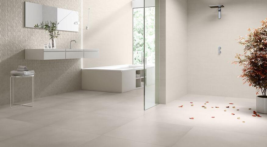 keraben am groove sand concept art sand 40x120 evolution beige 75x75 Badezimmer